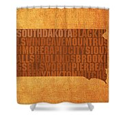 South Dakota Word Art State Map On Canvas Shower Curtain