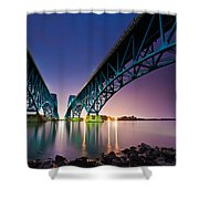 South Grand Island Bridge Shower Curtain