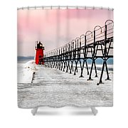 South Haven Light And Pier Shower Curtain