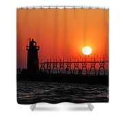 South Haven Lighthouse At Sunset 1 Shower Curtain