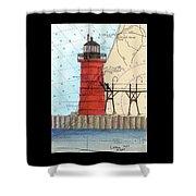 South Haven Lighthouse Mi Nautical Chart Map Art Cathy Peek Shower Curtain