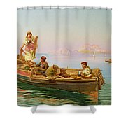 South Italian Fishing Scene Shower Curtain