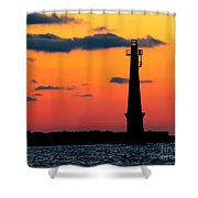South Pier Light At Night Shower Curtain
