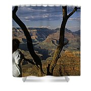 South Rim Grand Canyon Sunset Light On Rock Formations With Woma Shower Curtain