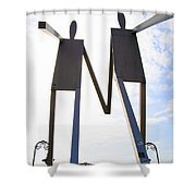 South Street Stick Men Statue Shower Curtain
