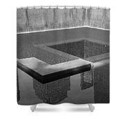South Tower Pool In Black And White Shower Curtain