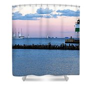 Southeast Guidewall Lighthouse At Sunset And Tall Ship Windy Shower Curtain