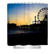 Southern California Santa Monica Pier Sunset Shower Curtain