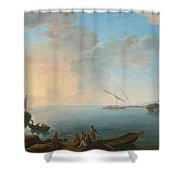 Southern Mediterranean Seascape With Boats And Figures At Sunset Shower Curtain