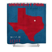 Southern Methodist University Mustangs Dallas Texas College Town State Map Poster Series No 098 Shower Curtain