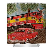 Southern Pacific Train 1951 Kaiser Frazer Car Rr Crossing Shower Curtain