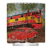 Southern Pacific Train 1951 Kaiser Frazer Car Rr Crossing Shower Curtain
