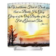 Southern Sunset - Digital Paint II With Verse Shower Curtain by Debbie Portwood