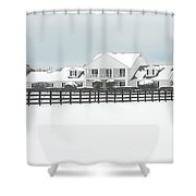 Snow Covered Southfork Ranch   Shower Curtain