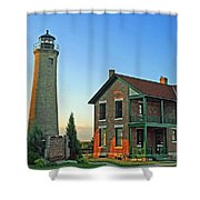 Southport Lighthouse On Simmons Island Shower Curtain