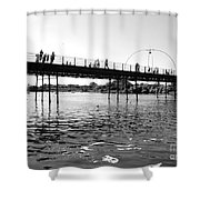 Southport Pier Across The Marine Lake Bw Shower Curtain