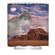 Southwest Navajo Rock House And Lightning Strikes Hdr Shower Curtain