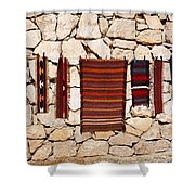 Souvenir Rugs For Sale At Wadi Mujib Jordan Shower Curtain by Robert Preston