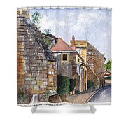 Souvigny Eclectic Architecture In A Village In Central France Shower Curtain