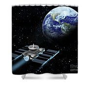 Space Exploration, Earth, Illustration Shower Curtain