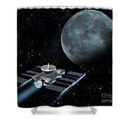 Space Exploration, Moon, Illustration Shower Curtain