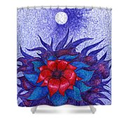 Space Flower Shower Curtain