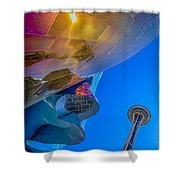 Space Needle And Emp In Perspective Hdr Shower Curtain