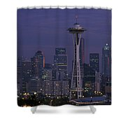 Space Needle At Twilight Shower Curtain