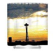 Space Needle Sunset Sillouette Shower Curtain