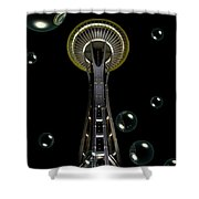 Space Needle With Bubbles 1 Shower Curtain