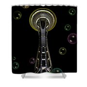 Space Needle With Bubbles 2 Shower Curtain