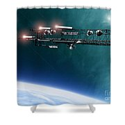 Space Station Communications Antenna Shower Curtain by Antony McAulay