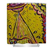 Spaceship Dog Graffiti Shower Curtain