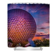 Spaceship Earth Glow Shower Curtain