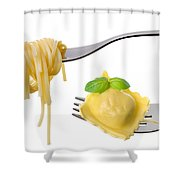 Spaghetti And Ravioli On Forks White Background Shower Curtain