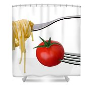 Spaghetti And Tomato On Forks Isolated Shower Curtain