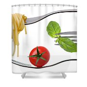 Spaghetti Basil And Tomato On Forks Isolated Shower Curtain