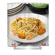 Spaghetti With Sea Food Shower Curtain