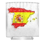 Spain Painted Flag Map Shower Curtain