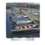 Row Boats In Spain Series 27 Shower Curtain