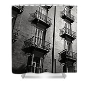 Spanish Balconies - Black And White Shower Curtain