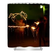 Sparklers Shower Curtain by Valeria Donaldson