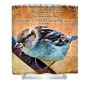 Sparrow With Verse And Painted Effect Shower Curtain