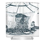 Sparrows In Charcoal Shower Curtain