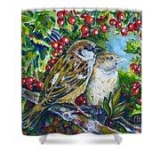 Sparrows On The Hawthorn Shower Curtain