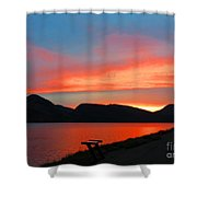 Spectacular Sunset On The Lake. Yellowstone. Shower Curtain