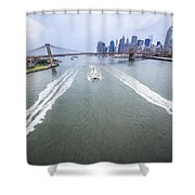 Speed Boats And Barge At East River In Front Of The Brooklyn Bridge And Manhattan Skyline Shower Curtain