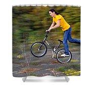 Speed - Monika Hinz Doing A Wheelie On Her Bmx Flatland Bike Shower Curtain