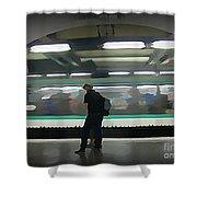 Speeding Subway Train Shower Curtain