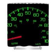 Speedometer On Black Isolated Shower Curtain